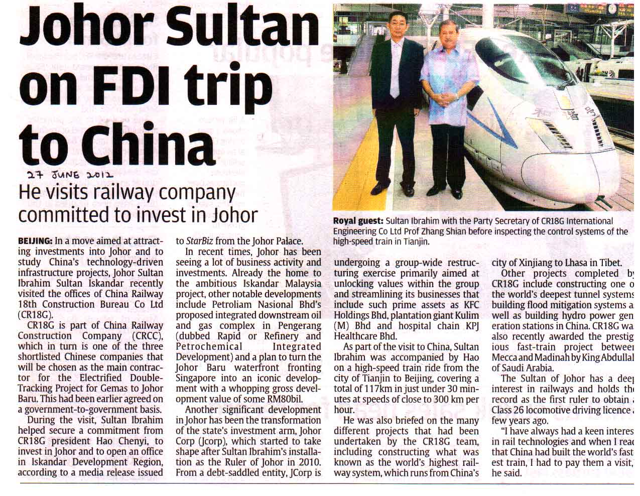 Johor Sultan on FDI trip to China