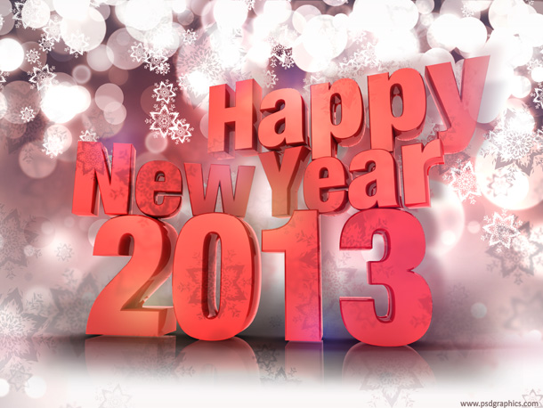Happy New Year 2013 - Photo credits - http://www.psdgraphics.com