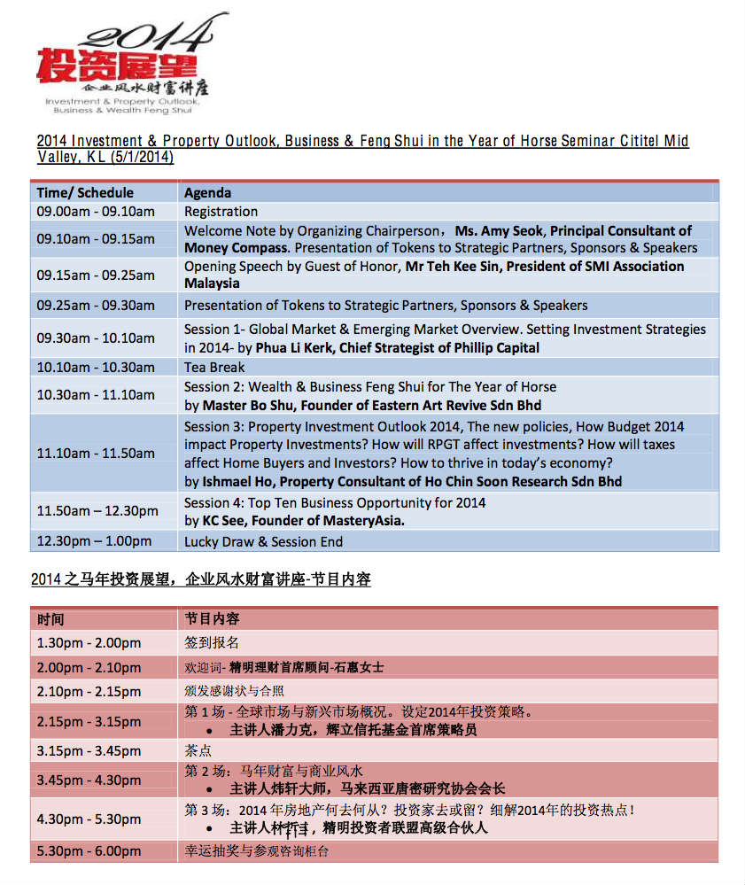 2014 KL Talk Agenda Money Compass