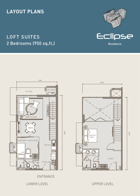 Eclipse Residence LOFT Suites 2BR 950sf