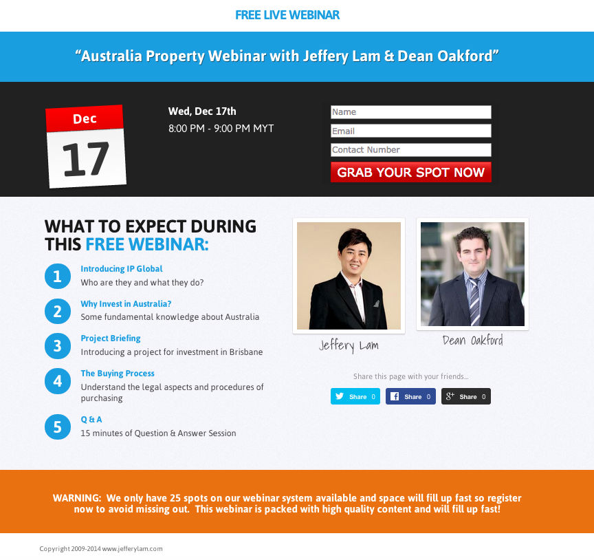 Australia Webinar with Jeffery Lam
