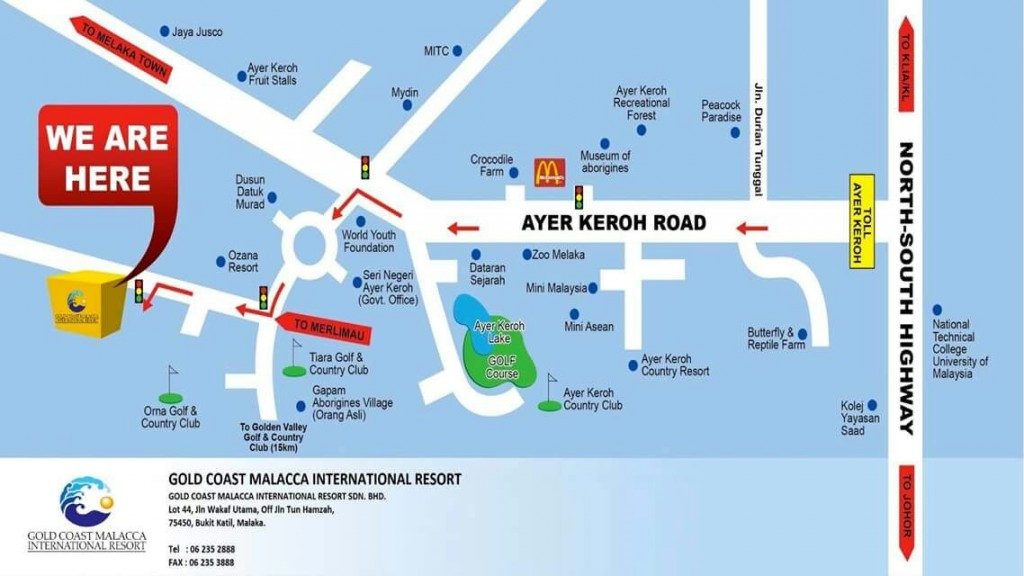Gold Coast Melaka Location Map