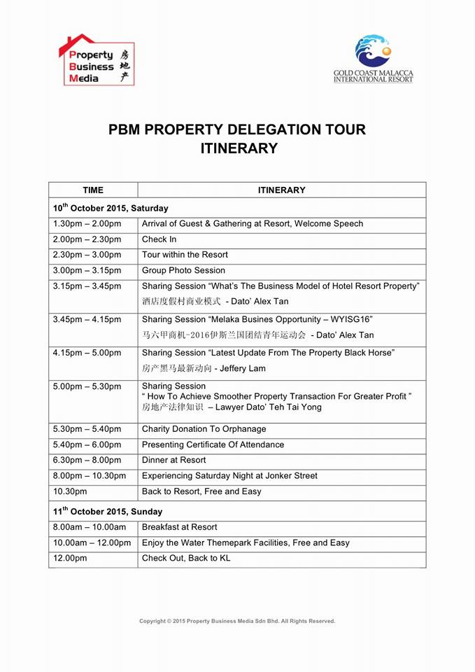 PBM Property Delegation Tour Itinerary